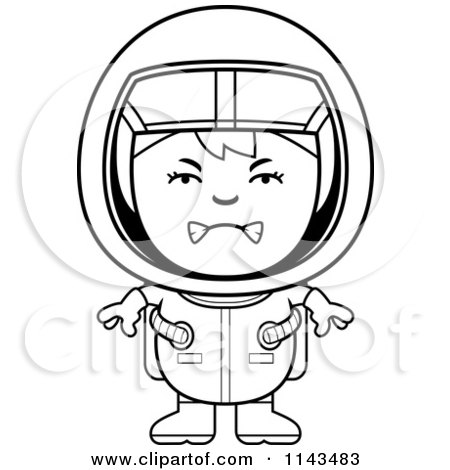 Cartoon Clipart Of A Black And White Mad Astronaut Girl - Vector ...