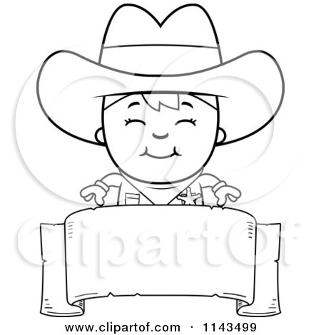 Cartoon Clipart Of A Black And White Happy Sheriff Cowboy Kid Over A Blank Banner - Vector Outlined Coloring Page by Cory Thoman