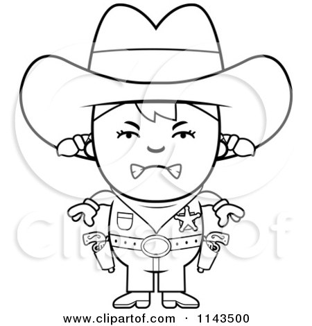 Cartoon Clipart Of A Black And White Mad Sheriff Cowgirl Kid - Vector Outlined Coloring Page by Cory Thoman