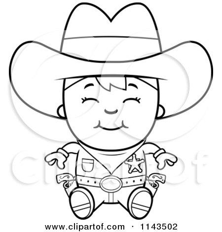 Cowboy Black And White Cartoon
