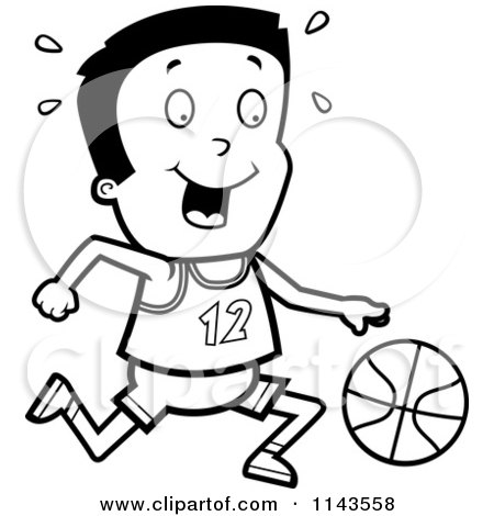 Cartoon Clipart Of A Black And White Athletic Boy Dribbling A Basketball - Vector Outlined Coloring Page by Cory Thoman