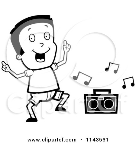 Cartoon Clipart Of A Black And White Happy Boy Dancing To Music