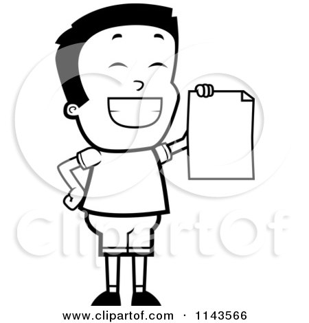 Cartoon Clipart Of A Black And White Smart School Boy Presenting His Report Card - Vector Outlined Coloring Page by Cory Thoman