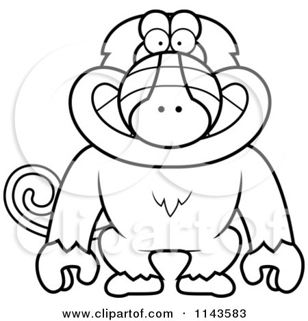 Cartoon Clipart Of A Black And White Baboon Monkey Explorer