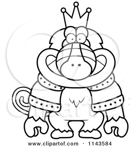 Cartoon Clipart Of A Black And White King Baboon Wearing A Crown And