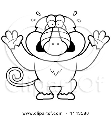 Cartoon Clipart Of A Black And White Scared Baboon Monkey - Vector Outlined Coloring Page by Cory Thoman