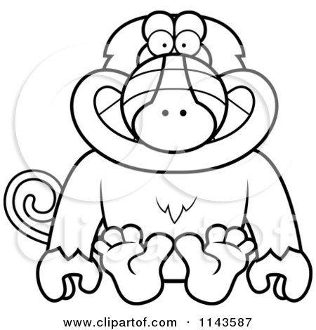 Cartoon Clipart Of A Black And White Sitting Baboon Monkey - Vector Outlined Coloring Page by Cory Thoman