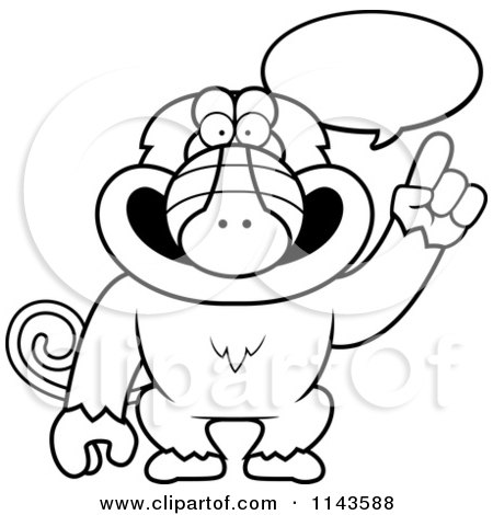 Cartoon Clipart Of A Black And White Smart Baboon Talking - Vector Outlined Coloring Page by Cory Thoman