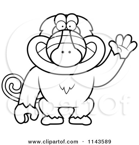 Cartoon Clipart Of A Black And White Friendly Baboon Monkey Waving