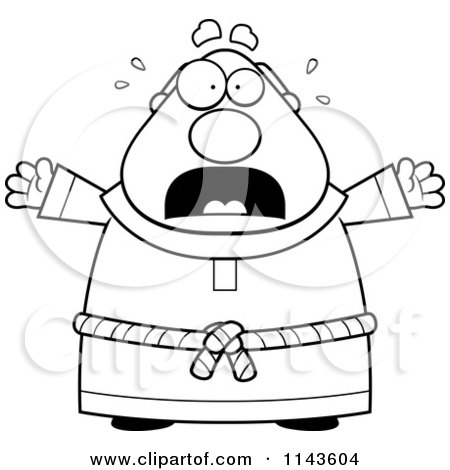 Cartoon Clipart Of A Black And White Scared Chubby Monk - Vector Outlined Coloring Page by Cory Thoman