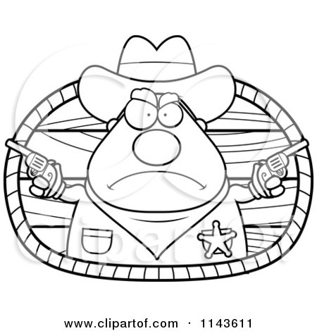 Cartoon Clipart Of A Black And White Cowboy Sheriff - Vector Outlined Coloring Page by Cory Thoman