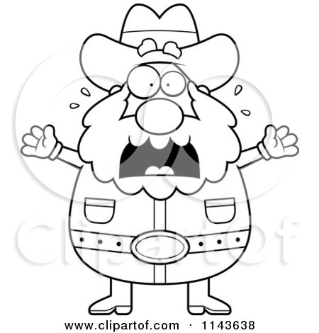 Cartoon Clipart Of A Black And White Chubby Miner Prospector Freaking Out - Vector Outlined Coloring Page by Cory Thoman