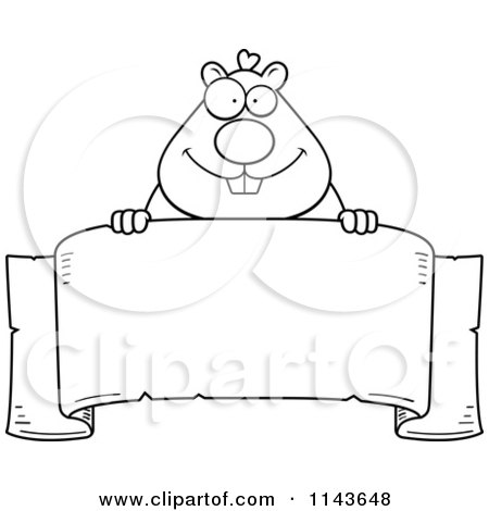 Cartoon Clipart Of A Black And White Hamster Over A Banner - Vector Outlined Coloring Page by Cory Thoman