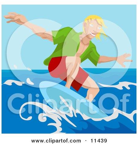 Young Surfer Dude Surf Boarding Clipart Illustration by AtStockIllustration