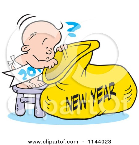 Cartoon Of A Baby Peeking Into A New Year Sack - Royalty Free Vector Clipart by Johnny Sajem