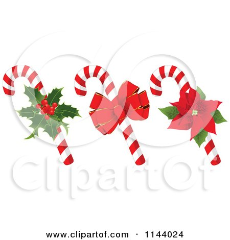 Cartoon Of Christmas Peppermint Candy Canes With Holly A Bow And Poinsettia - Royalty Free Vector Clipart by Pushkin