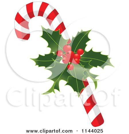 Cartoon Of A Christmas Peppermint Candy Cane With Holly - Royalty Free Vector Clipart by Pushkin