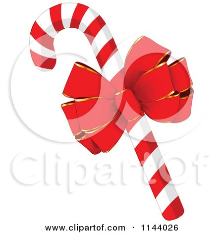 Cartoon Of A Christmas Peppermint Candy Cane With A Red Bow - Royalty Free Vector Clipart by Pushkin