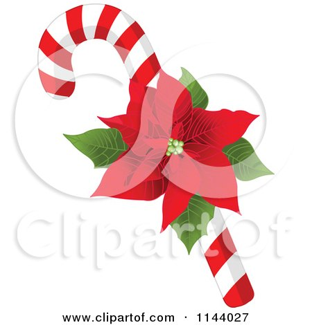Cartoon Of A Christmas Peppermint Candy Cane With A Poinsettia - Royalty Free Vector Clipart by Pushkin