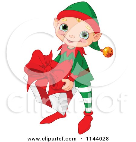 Cartoon Of A Cute Christmas Elf Boy Carrying A Big Present - Royalty Free Vector Clipart by Pushkin