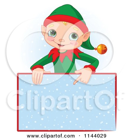 Cartoon Of A Cute Christmas Elf Boy Pointing Down At A Snow Sign - Royalty Free Vector Clipart by Pushkin