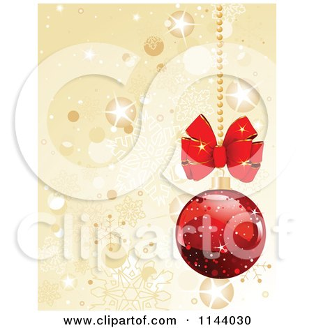 Clipart Of A Shiny Red Christmas Bauble And Gold Snowflake Background - Royalty Free Vector Illustration by Pushkin