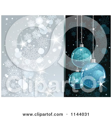 Clipart Of A Shiny Blue Christmas Bauble And Silver Snowflake Background - Royalty Free Vector Illustration by Pushkin