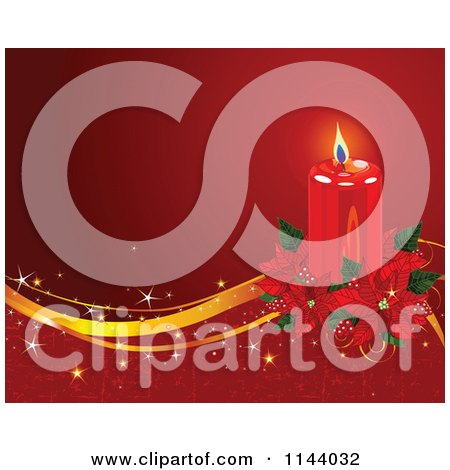Clipart Of A Lit Red Christmas Candle And Poinsettia Background With Golden Waves And Grunge. - Royalty Free Vector Illustration by Pushkin