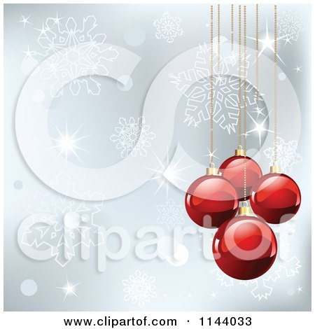 Clipart Of A Shiny Red Christmas Bauble And Silver Snowflake Background - Royalty Free Vector Illustration by Pushkin
