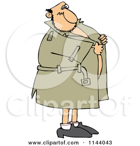 Cartoon Of A Flasher Man Holding Onto His Coat - Royalty Free Vector Clipart by djart