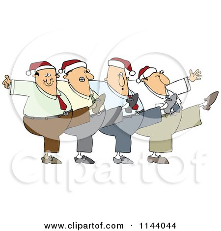 Cartoon Of A Chorus Line Of Men Wearing Santa Hats And Dancing The Can Can - Royalty Free Vector Clipart by djart