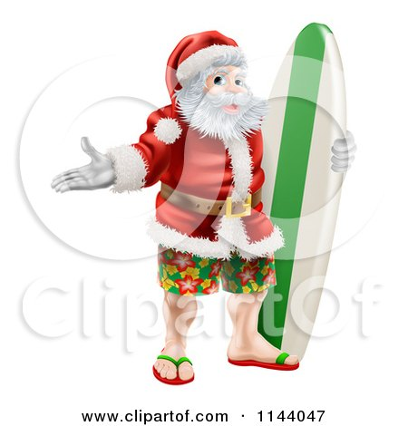 Clipart of a Summer Santa with Shorts Sandals and a Surf Board - Royalty Free Vector Illustration by AtStockIllustration