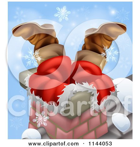 Clipart of Santas Legs Sticking out from a Chimney with Snowflakes - Royalty Free Vector Illustration by AtStockIllustration