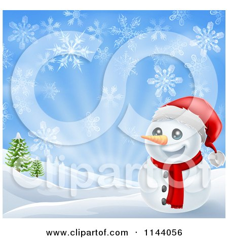 Clipart of a Happy Christmas Snowman Smiling with Hills and Snowflakes - Royalty Free Vector Illustration by AtStockIllustration