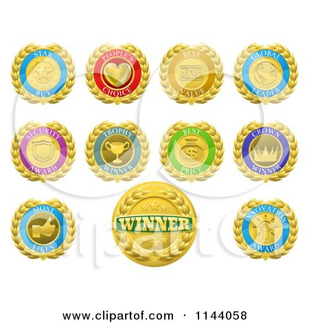Clipart of Colorful Winner and Product Medals - Royalty Free Vector Illustration by AtStockIllustration