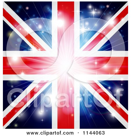 Clipart of a Union Jack Flag Background with Flares and a Burst. - Royalty Free Vector Illustration by AtStockIllustration