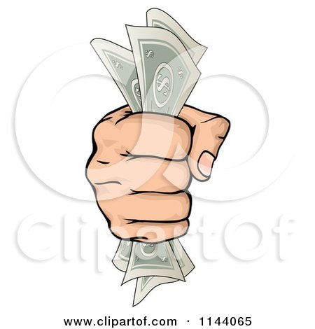 Clipart of a Hand Clenching Cash Money in a Fist - Royalty Free Vector Illustration by AtStockIllustration