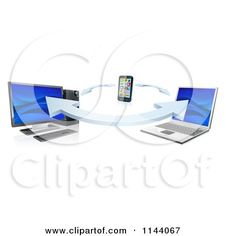 Clipart of a 3d Cell Phone Desktop and Laptop Computer Communication Through Syncronization - Royalty Free Vector Illustration by AtStockIllustration