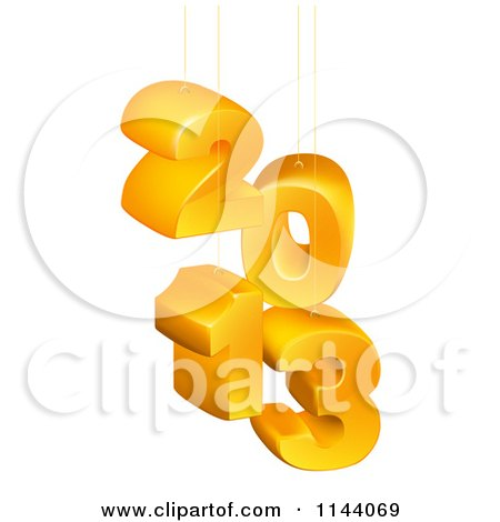 Clipart of Suspended 3d 2013 New Year Numbers - Royalty Free Vector Illustration by AtStockIllustration