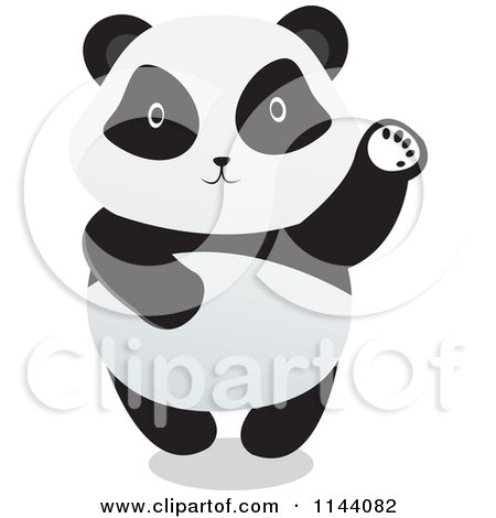 Cartoon of a Cute Panda Standing and Waving - Royalty Free Vector Clipart by YUHAIZAN YUNUS