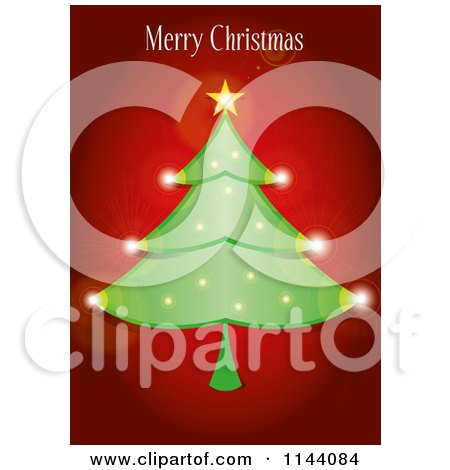 Clipart of a Merry Christmas Greeting over a Sparkly Tree on Red - Royalty Free Vector Illustration by Paulo Resende