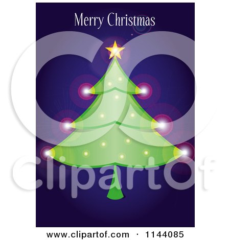 Clipart of a Merry Christmas Greeting over a Sparkly Tree on Blue - Royalty Free Vector Illustration by Paulo Resende