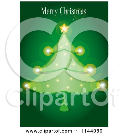 Clipart of a Merry Christmas Greeting over a Sparkly Tree on Green - Royalty Free Vector Illustration by Paulo Resende