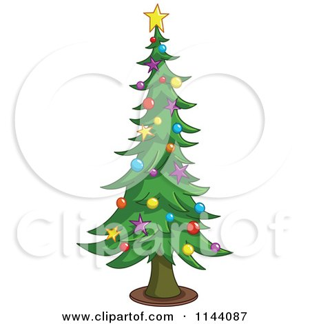 Cartoon of a Tall Christmas Tree with Star and Bauble Ornaments - Royalty Free Vector Clipart by yayayoyo