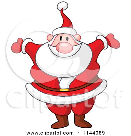 Cartoon of Santa Happy Holding His Arms Wide Open - Royalty Free Vector Clipart by yayayoyo