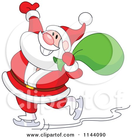 Cartoon of Santa Cheerfully Ice Skating with a Sack over His Shoulder - Royalty Free Vector Clipart by yayayoyo