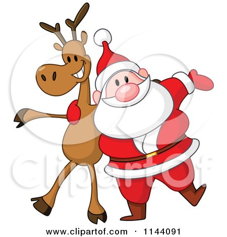 Cartoon of Santa with a Cheerful Reindeer - Royalty Free Vector Clipart by yayayoyo