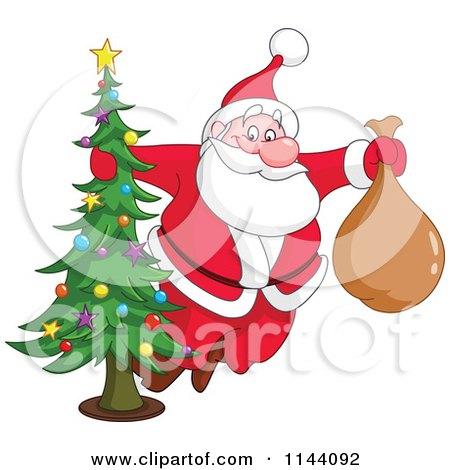 Cartoon of Santa Swinging Around a Christmas Tree - Royalty Free Vector Clipart by yayayoyo