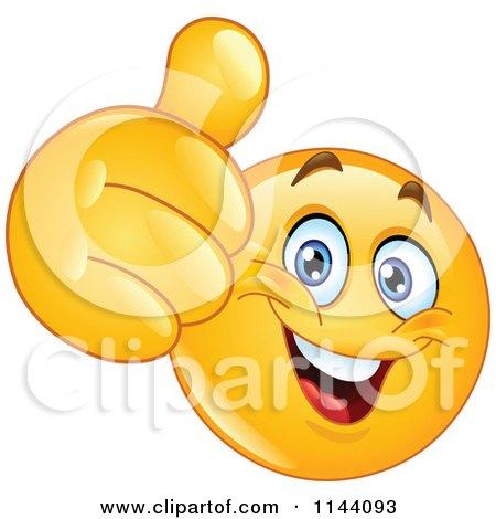 Cartoon of a Happy Emoticon Smiley Holding a Thumb up - Royalty Free Vector Clipart by yayayoyo