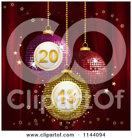Clipart of 3d Mosaic Bingo New Year 2013 Baubles Suspended over Red Silk with Gold Stars - Royalty Free Vector Illustration by elaineitalia